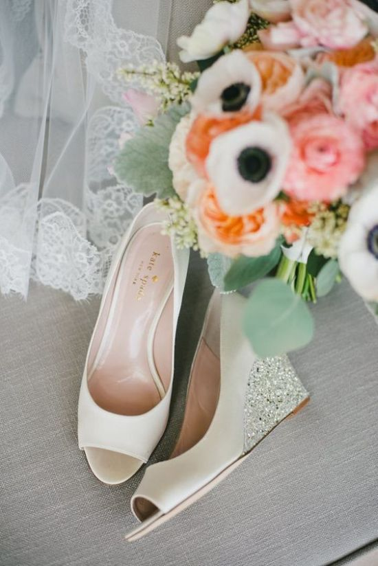Ivory Wedding Wedges With Sparkling And Shiny Heels