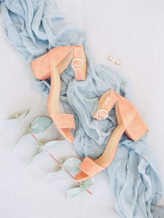 Living Coral Ankle Strap Wedding Shoes With Block Heels
