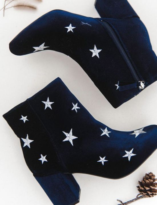 Navy Boho Wedding Boots With Star Embroidery