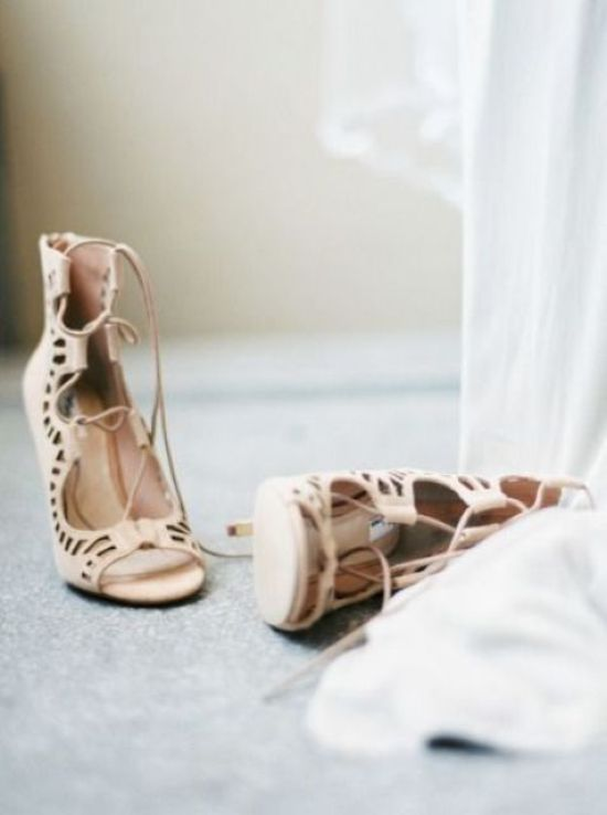 Neutral Laser Cut Lace Up Boho Wedding Heels