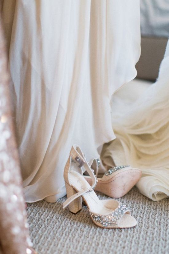 Nude Ankle Strap Wedding Shoes With Heavy Embellishments