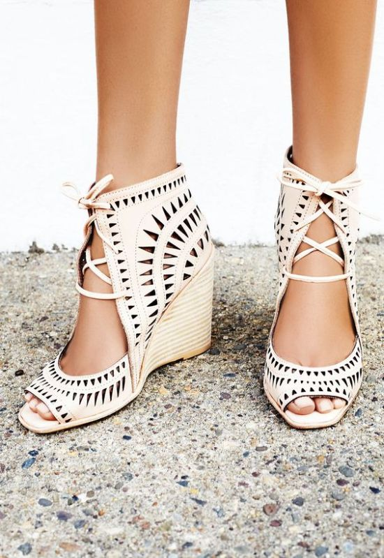 Nude Laser Cut Boho Wedding Wedges With An Open Toe