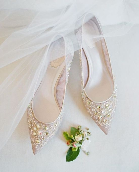 Nude Pointed Toe Heavily Embellished Flats