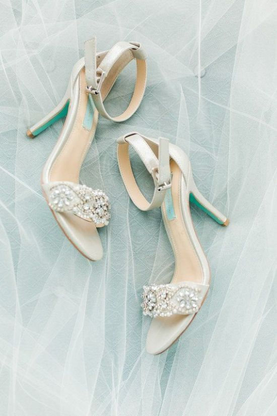 Off-White Embellished Wedding Heels With Ankle Straps For A Glam Touch