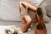 Rust-Colored Cutout Suede Wedding Shoes With Comfortable Block Heels