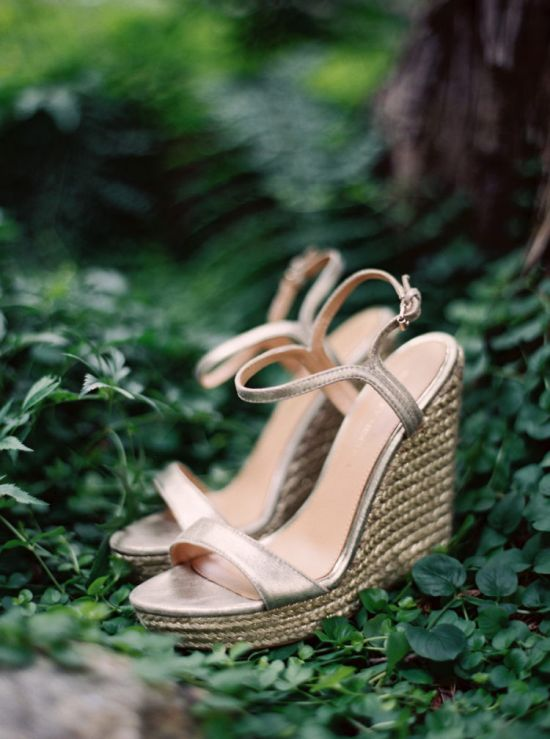Shiny Metallic Wedding Wedges With Thin Straps And Wicker Platforms