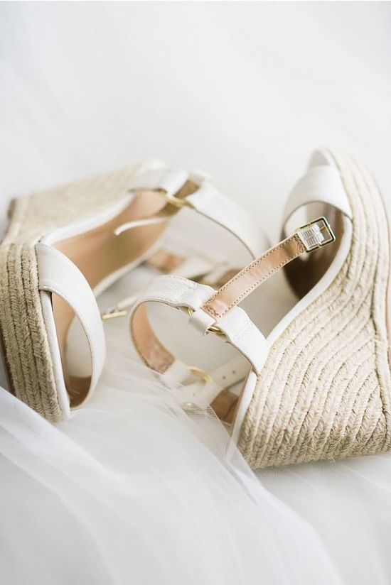 White And Tan Strappy Wedges With Wicker Platforms