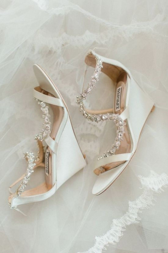 White Wedding Wedges With Embellished Tops