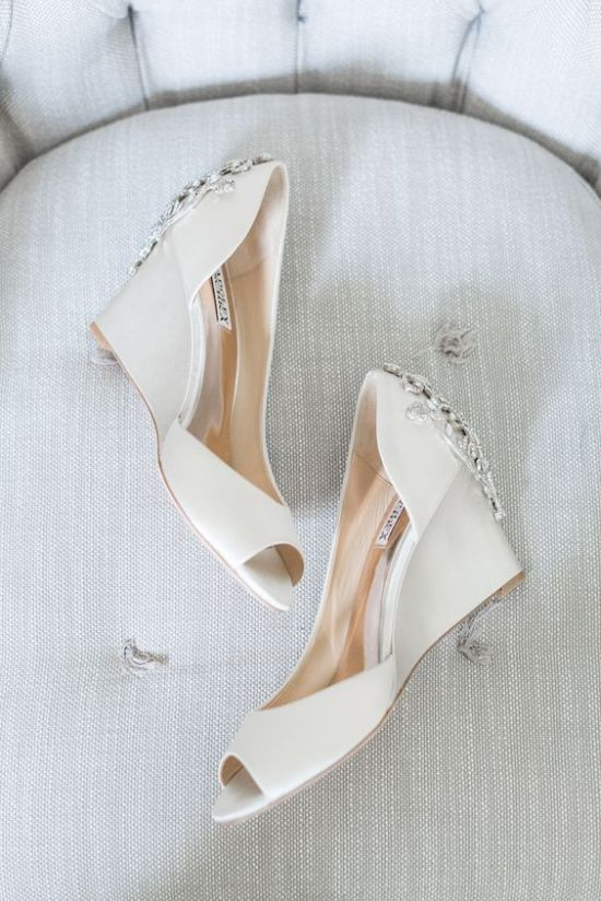 White Wedding Wedges With Peep Toes And Heavily Embellished Backs