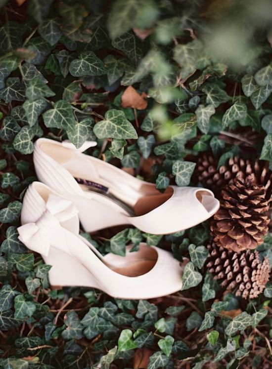 White Wedges With Bows On The Sides And Peep Toes