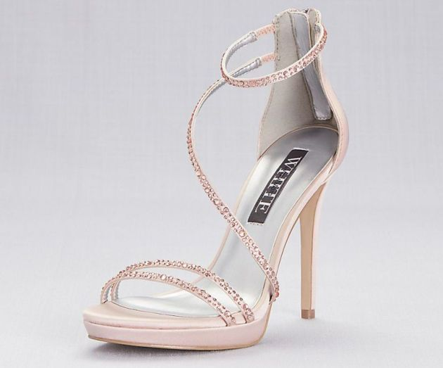 White by Vera Wang Strappy Crystal-Trimmed Stiletto Heels with Zipper