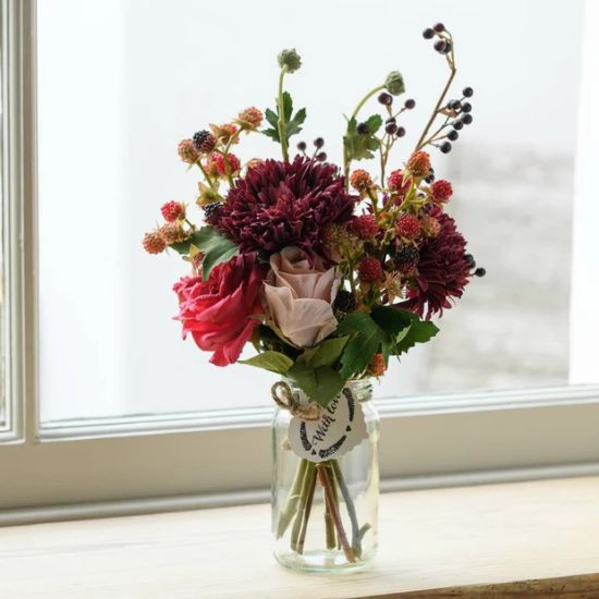Artificial Claret-Colored Wedding Bouquet Of Chrysanthemum And Roses