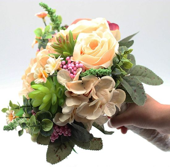 Artificial Peony Rose Green Succulent Wedding Bouquet