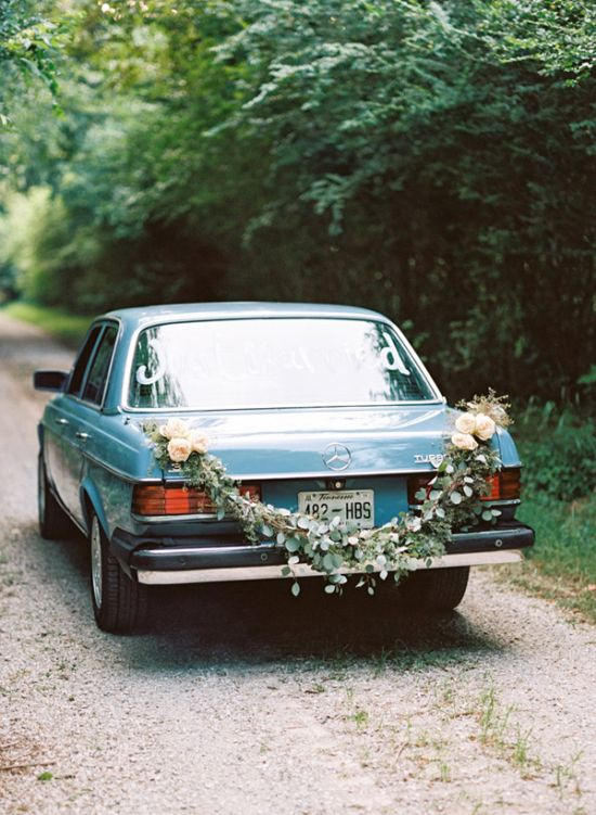 Floral Garland Wedding Getaway Car