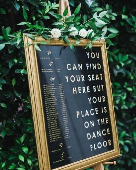 Framed Wedding Seating Plan Ideas With Black And Gold Elements