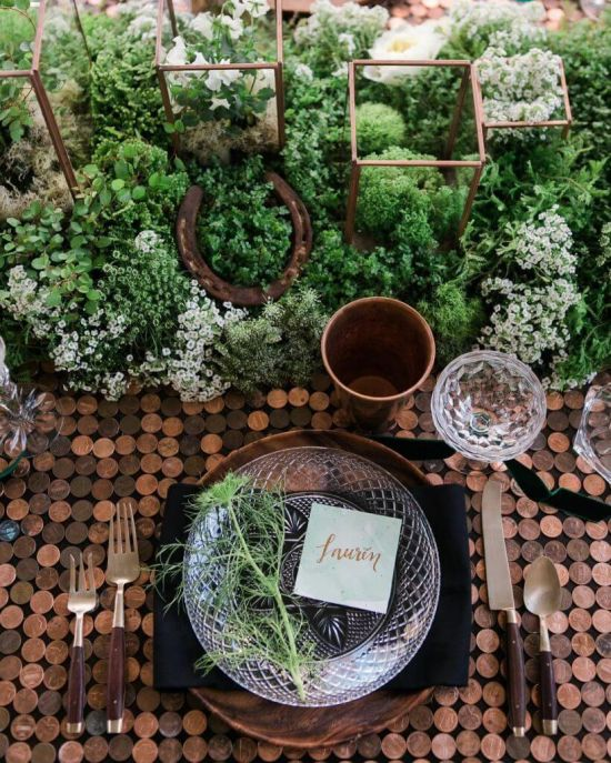 Glass and Greens Wedding Tablescape