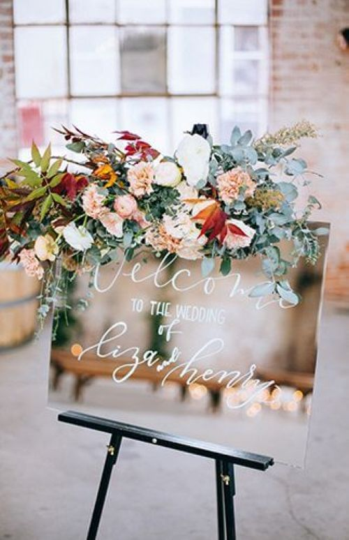 Golden And Blooming Wedding Sign