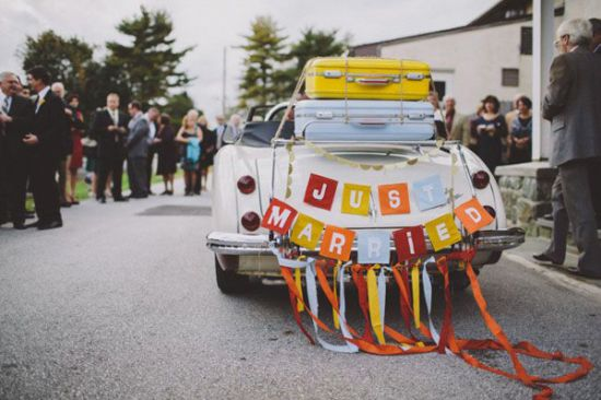 Just Married Car With Ribbons