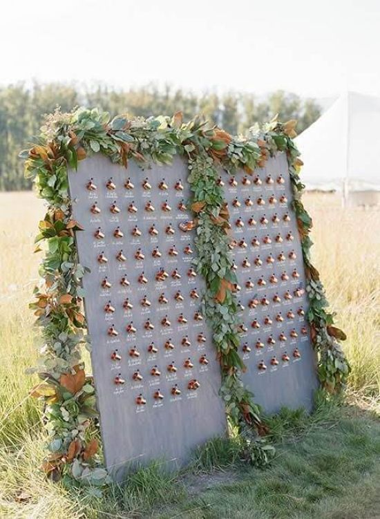 Wedding Seating Plan Idea With Cups In Copper