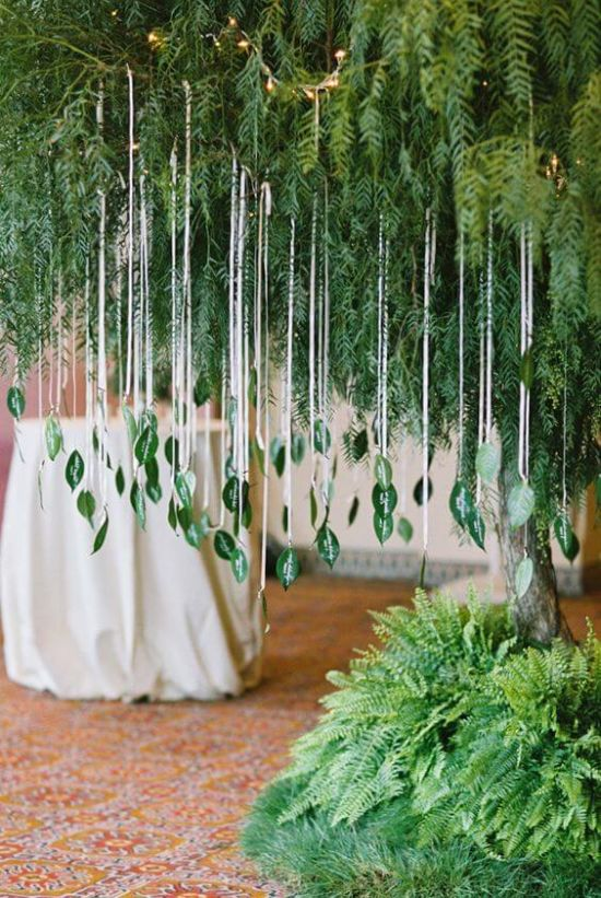 Wedding Seating Plan Idea With Lush Greenery