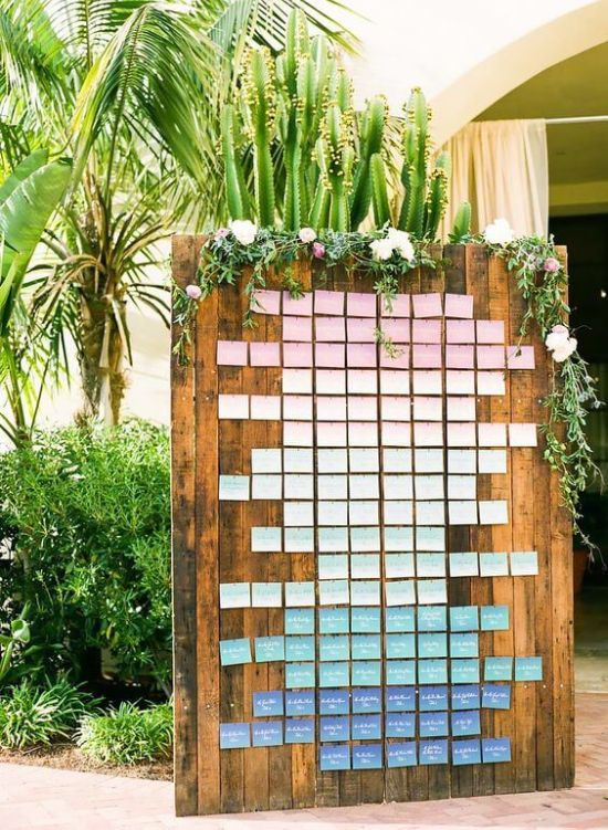 Wedding Seating Plan Idea With Pastel-Colored Cards