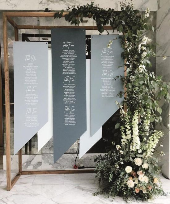 Wedding Seating Plan Idea With Plywood And Wooden Stand