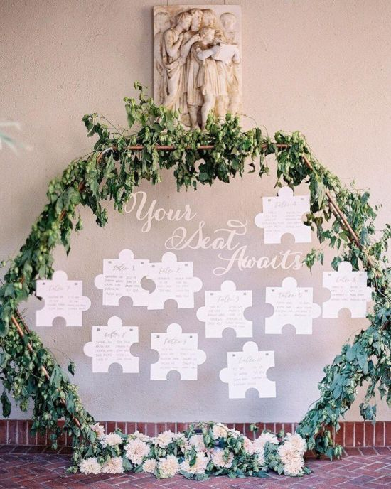 Wedding Seating Plan Idea With Puzzle Cards