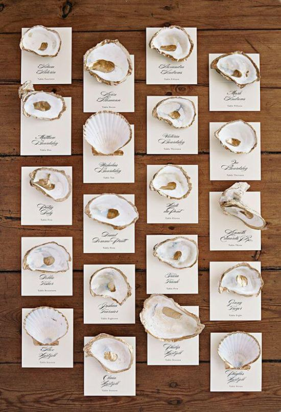Wedding Seating Plan Idea With Seashells