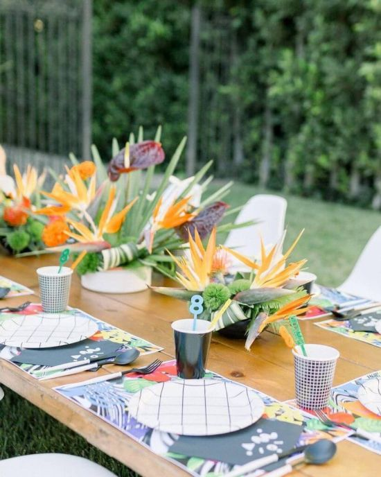 Wedding Tablescape With Colorful Straws And Printed Cookies