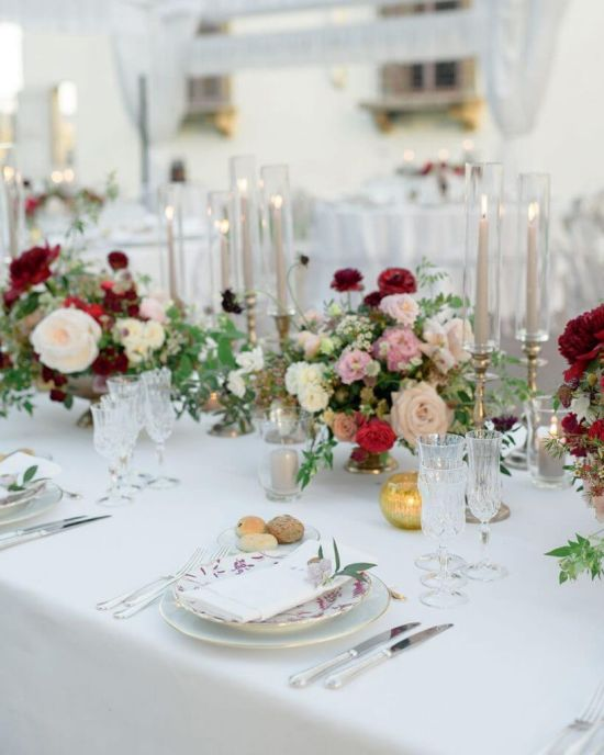 Wedding Tablescape With Crystal Wares And Candles