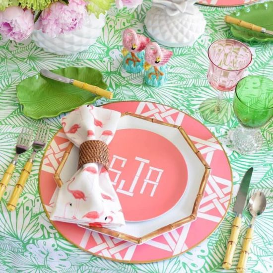 Wedding Tablescape With Monogrammed Plates And Bamboo Cutlery