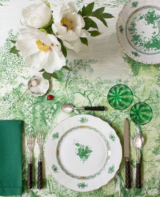 Wedding Tablescape With Napkins In Hues Of Green And White