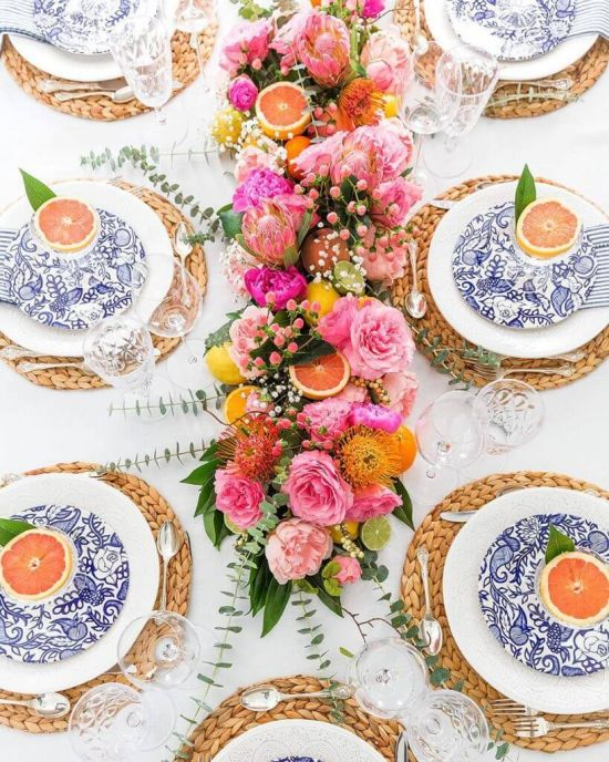 Wedding Tablescape With Sliced Grapefruits In Goblets And Partner Printed Tableware