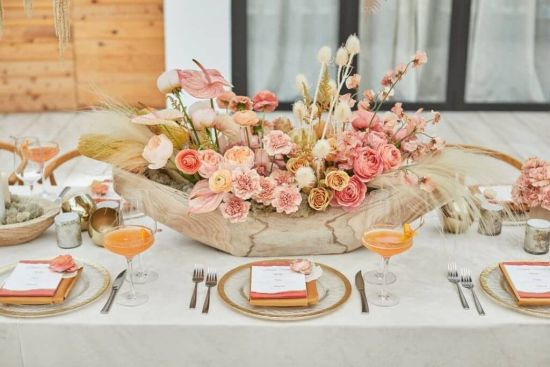 Wedding Tablescape With Wildflowers And Pampas Grass