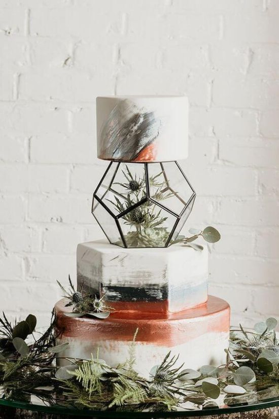 Wedding Cake Décor With Real Succulents And Flowers