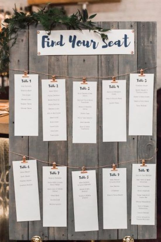 Wedding Seating Plan Idea With Small Clips And Metal Wire Plus Escort Cards