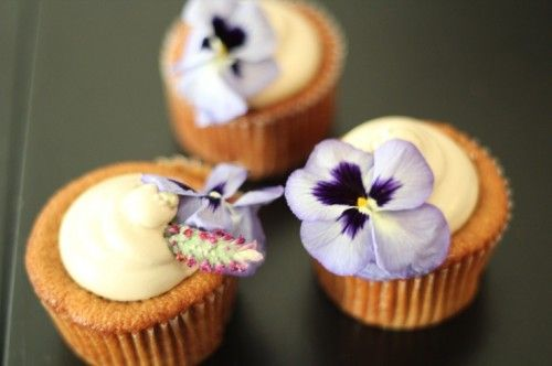 Brown Wedding Cupcakes With Edible Flowers