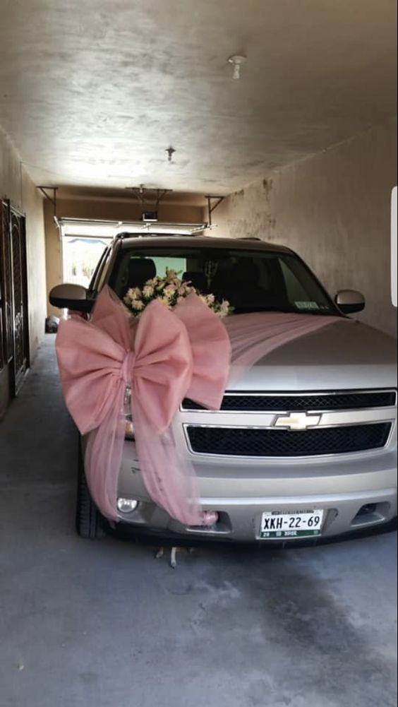 Wedding Car Decoration With Big Pink Ribbon