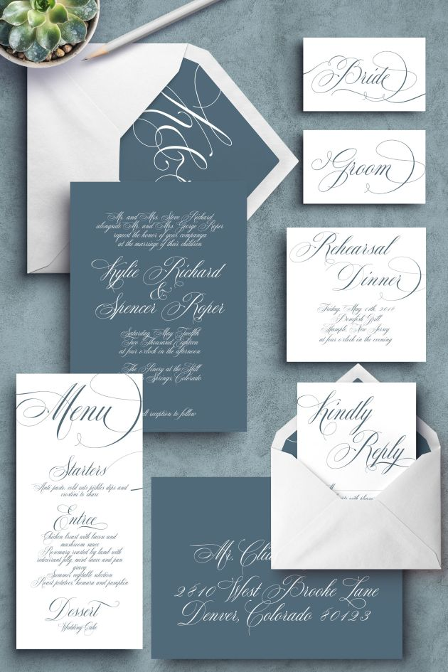 Dusty Blue Cheap Wedding Invitations With Classic Fonts
