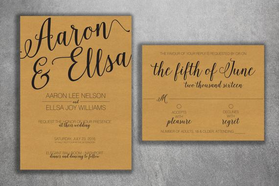 Kraft Rustic Wedding Invitations Set Printed