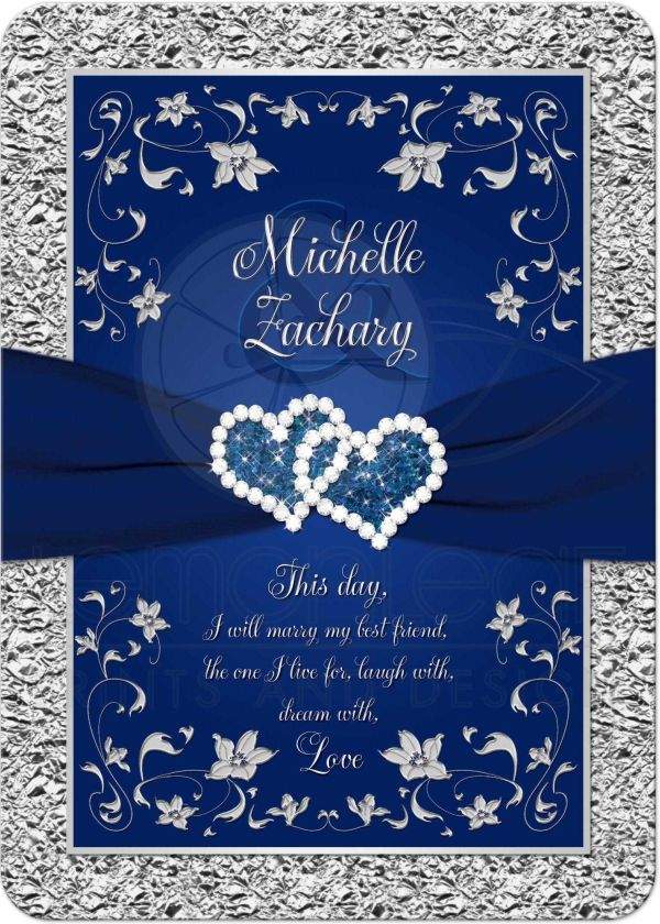 Navy Blue Silver Cheap Joined Heart Floral Wedding Invitations