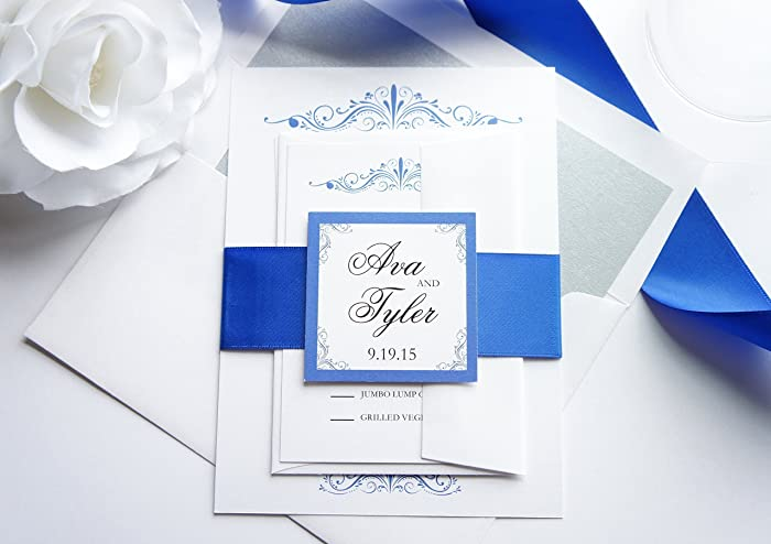 White Blue Cheap Wedding Invitations With Classy Fonts
