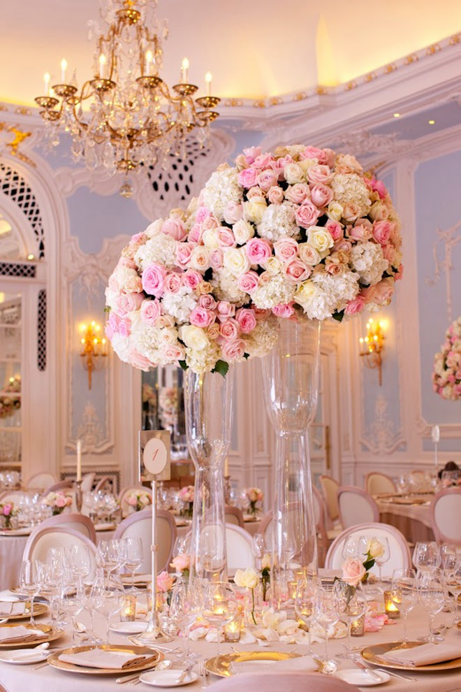 Elegant Wedding Centerpiece With White And Pink Roses