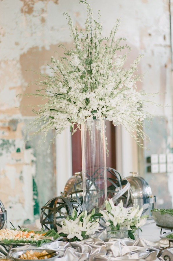 Elegant White Wedding Centerpiece With Clear Tall Vase