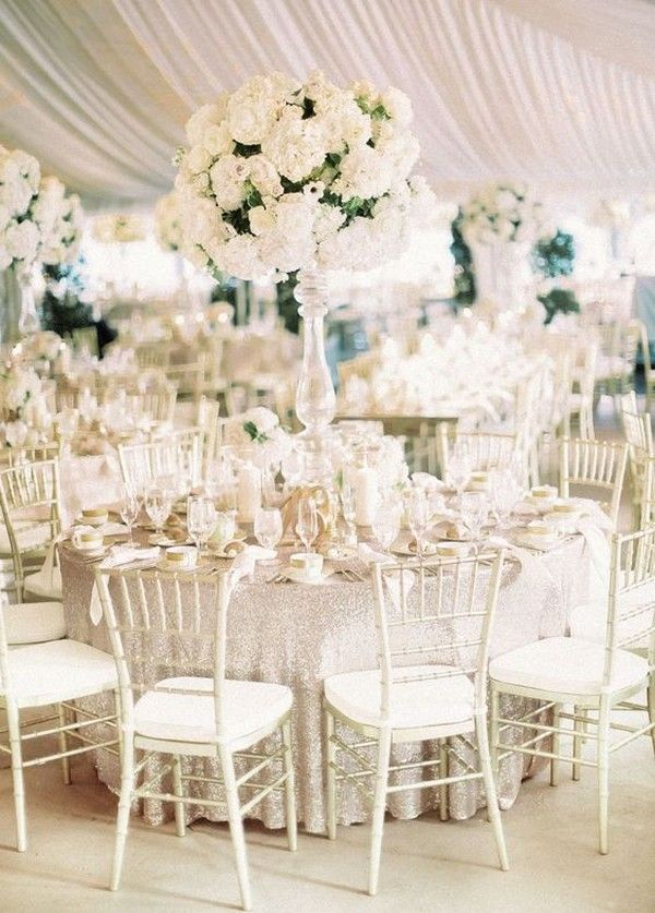 Elegant White Wedding Centerpiece With Tall Vases