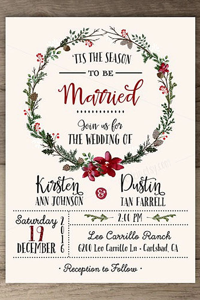 Christmas wedding invitations with picture